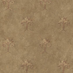 Tuscan Brown Shimmering Ogee Wallpaper