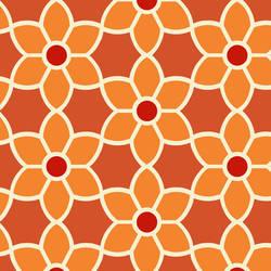 Flora Orange Geometric Floral 2532-20609