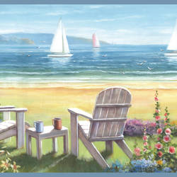 Regatta Blue Seaside Cottage Portrait Border BBC20021B