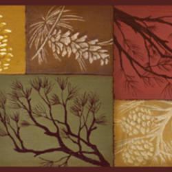 Monde Red Pinecone Branch Collage Border BBC35511B
