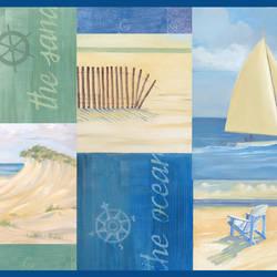 Nantucket Blue Coastal Breeze Collage Border BBC46041B