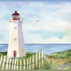 Eugene Light Blue Coastal Lighthouse Portrait Border BBC46071B