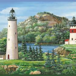Gilead Green Lake Lighthouse Portrait Border BBC46081B