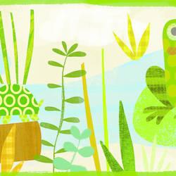 Kermis Cream Frog Marsh Toss Border BBC46331B