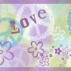 Janis Purple Peace Love Toss Border BBC46381B
