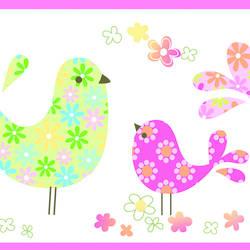 Partridge Pink Calico Birdies Toss Border BBC46411B