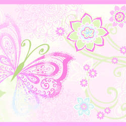 Fantasia Pink Boho Butterflies Scroll Border BBC46451B