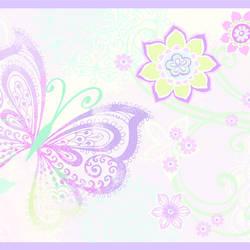 Fantasia Purple Boho Butterflies Scroll Border BBC46452B