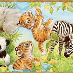 Deirdre Green Jungle Pals Portrait Border BBC83002B
