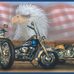 Bruce Blue Americana Motorcycles Portrait Border BBC92321B