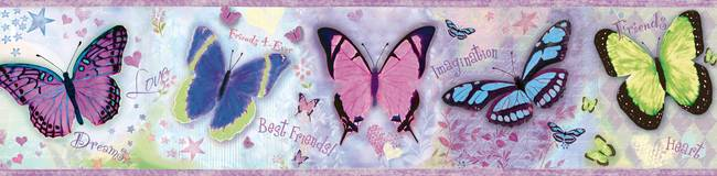 Kingston Purple BFF Butterflies Toss Border BBC94062B