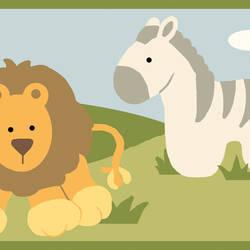 Simba Green Jungle Safari Cartoons Border BBC94182B