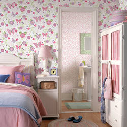 Paisley Pink Butterfly Flower Scroll Wallpaper BBC95511