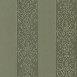 Arbella Green Damask Swirl Stripe 492-2103