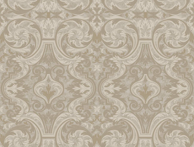 Guinevere Grey Baroque Marquetry Wallpaper BRL98054