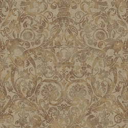Bali Espresso Damask Wallpaper BRL98077