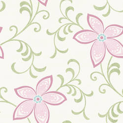 Khloe Pink Girly Floral Scroll Wallpaper CHR11637