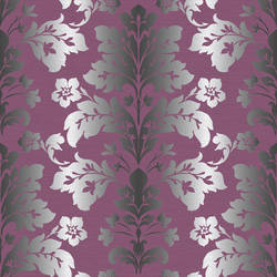 Camila Purple Modern Damask Wallpaper CHR116511