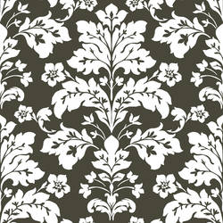 Camila Black Modern Damask Wallpaper CHR11655