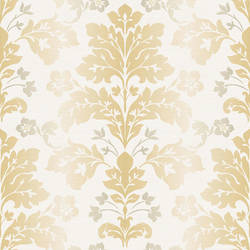 Camila Yellow Modern Damask Wallpaper CHR11656
