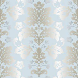 Camila Light Blue Modern Damask Wallpaper CHR11658