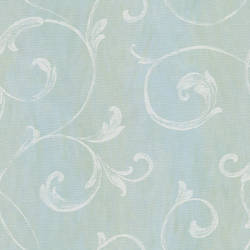 Gibby Aqua Leafy Scroll Wallpaper CHR11665