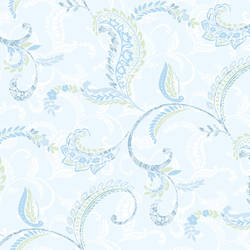 Riley Aqua Paisley Scroll Wallpaper CHR11695