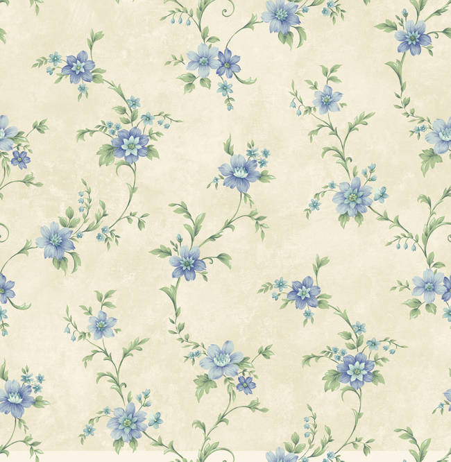 Elizabeth Blue Floral Trail Wallpaper CG11336