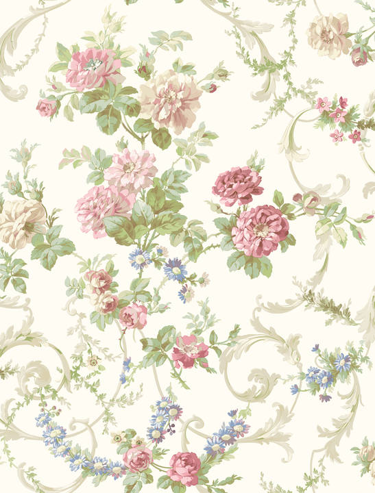 Villa Red Floral Tapestry Wallpaper CG583911
