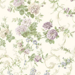 Villa Purple Floral Tapestry Wallpaper CG58399