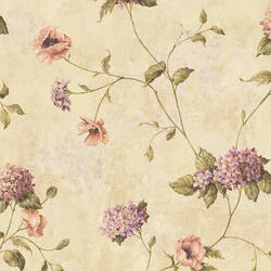Henrietta Wheat Hydrangea Floral Trail Wallpaper CG97012