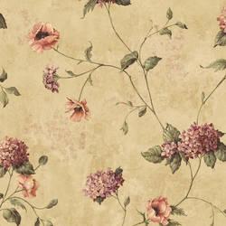 Henrietta Brown Hydrangea Floral Trail Wallpaper CG97016