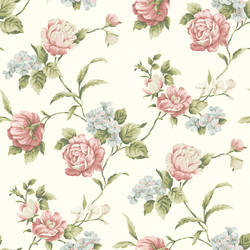 Gleason White Floral Rose Trail Wallpaper CG97061