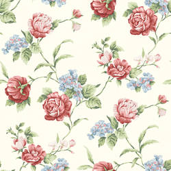 Gleason Red Floral Rose Trail Wallpaper CG97062