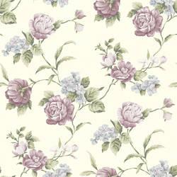 Gleason Purple Floral Rose Trail Wallpaper CG97065