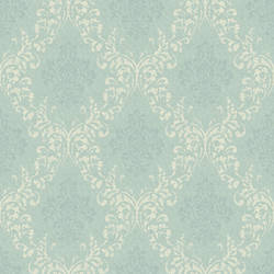 Golden Blue Damask Wallpaper CG97139
