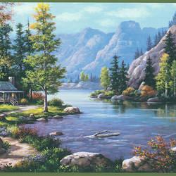 Boon Green Cabin Scenic Border TLL96512B