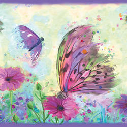 Ava Purple Butterfly Swoosh Border HAS01001B