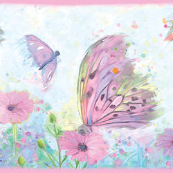 Ava Pink Butterfly Swoosh Border HAS01002B