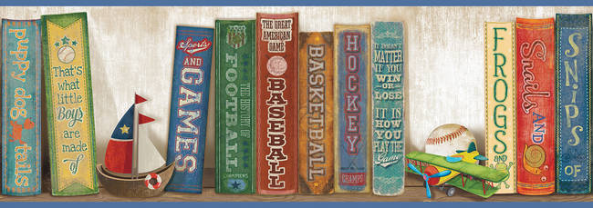 Stevie Blue Play the Game Bookshelf Border HAS01071B
