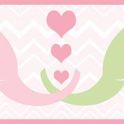 Tobi Pink Elephant Love Border HAS01172B