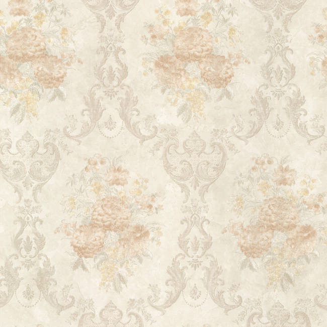 Dutchess Peach Floral Damask 991-68231
