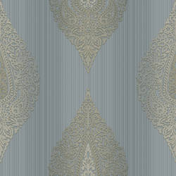 Taj Blue Damask Medallion Stripe RW30002