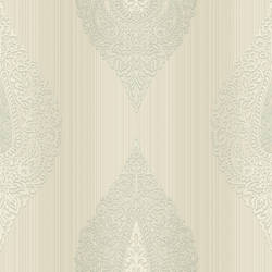 Taj Grey Damask Medallion Stripe RW30008