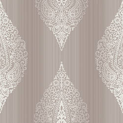 Taj Purple Damask Medallion Stripe RW30009