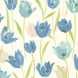 Finch Blue Hand Painted Tulips 347-20115