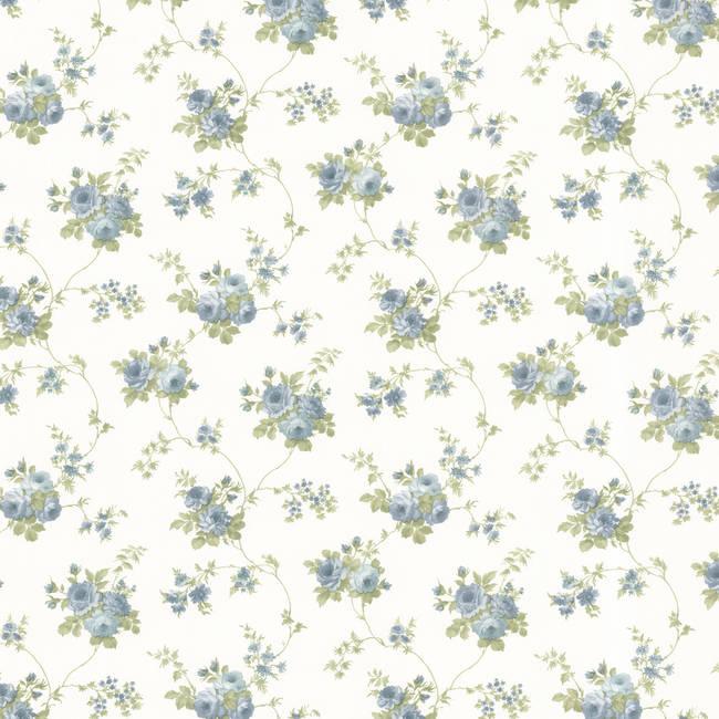Drury Blue Blooming Floral Trail 347-68846