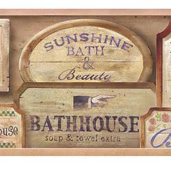 Bath House Pink Vintage Bath Border 418B80962