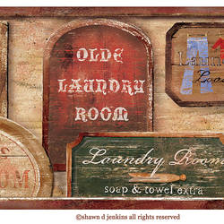 Wash Room Brown Vintage Laundry Signs 418B80974