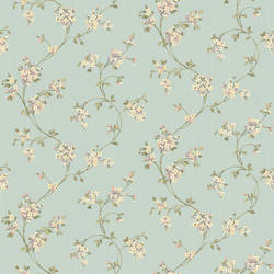 Laurel Blue Floral Trail Wallpaper HTM49523